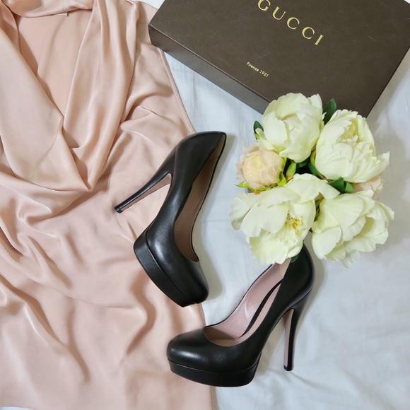 687e25e9457 Gucci Shoes - GUCCI lisbeth leather platform pumps - Black 36.5
